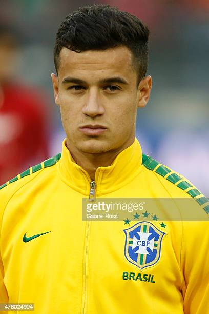 Philippe Coutinho of Brazil looks on during the national anthem ceremony prior the 2015 Copa America Chile Group C match between Brazil and Venezuela...