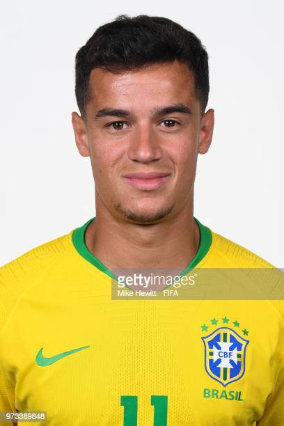 Philippe Coutinho of Brazil poses for a portrait during the official FIFA World Cup 2018 portrait session at the Brazil Team Camp on June 12 2018 in...