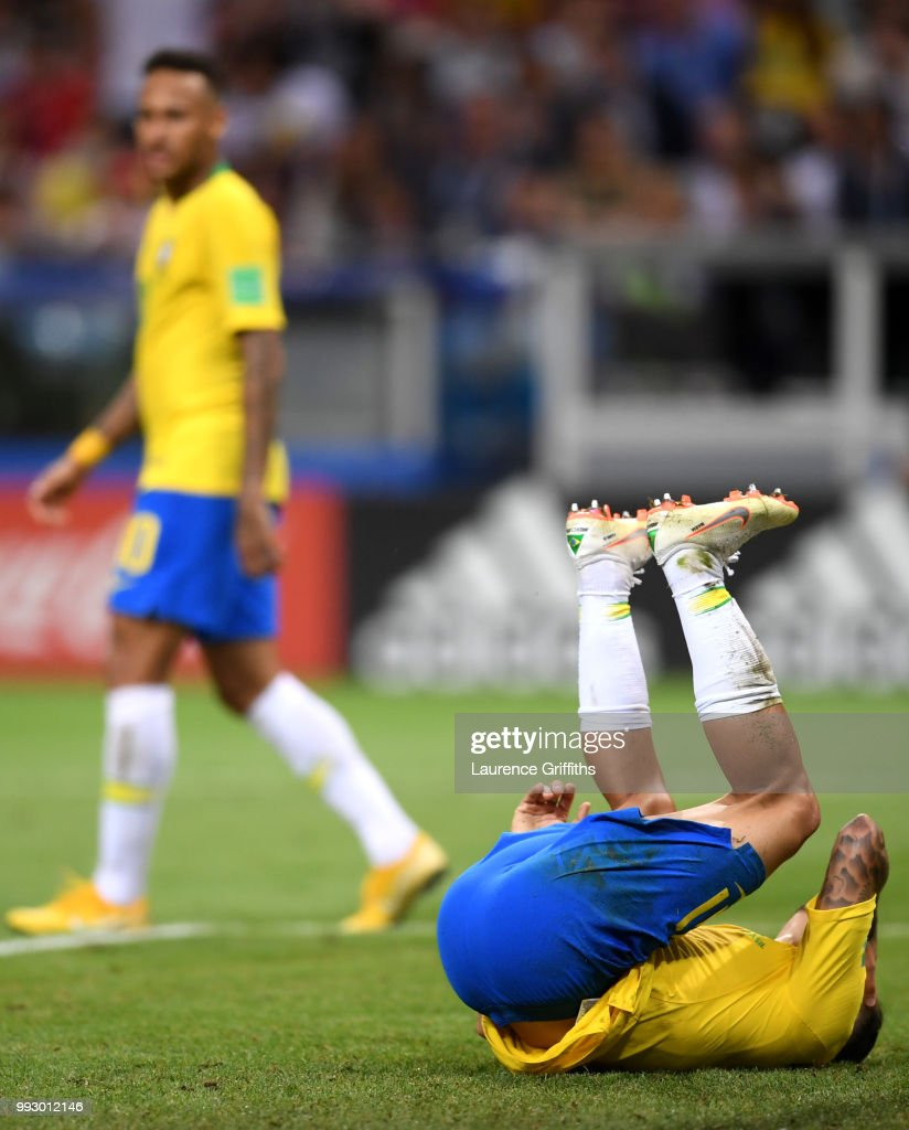 Philippe Coutinho of Brazil reacts during the 2018 FIFA World Cup Russia Quarter Final match between Brazil and Belgium at Kazan Arena on July 6, 2018 in Kazan, Russia.