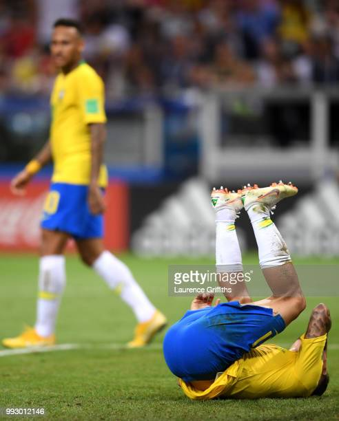 Philippe Coutinho of Brazil reacts during the 2018 FIFA World Cup Russia Quarter Final match between Brazil and Belgium at Kazan Arena on July 6 2018...