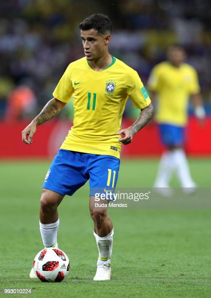 Philippe Coutinho of Brazil runs with the ball during the 2018 FIFA World Cup Russia Quarter Final match between Brazil and Belgium at Kazan Arena on...