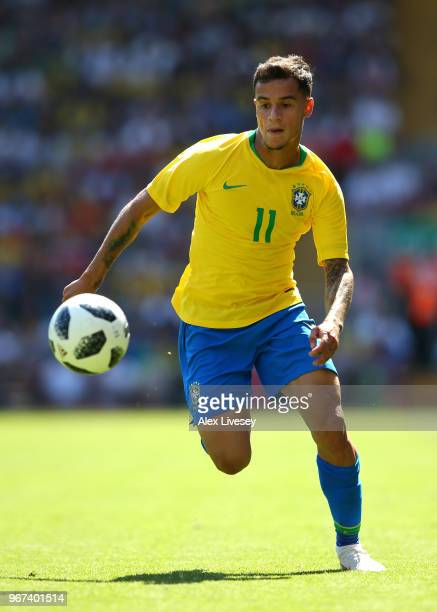Philippe Coutinho of Brazil runs with the ball during the International friendly match between of Croatia and Brazil at Anfield on June 3 2018 in...