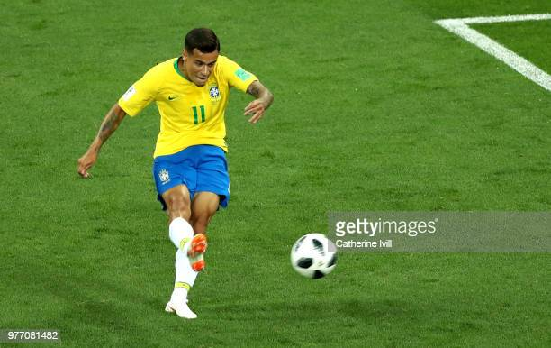 Philippe Coutinho of Brazil scores his team's first goal during the 2018 FIFA World Cup Russia group E match between Brazil and Switzerland at Rostov...
