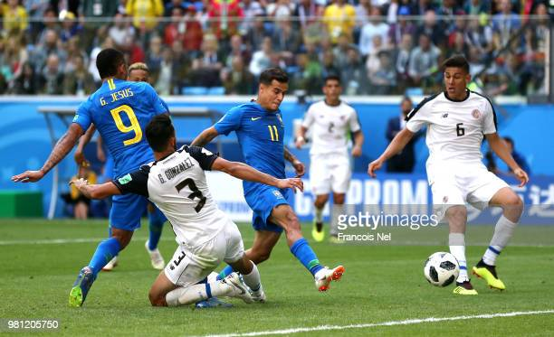 Philippe Coutinho of Brazil scores his team's first goal during the 2018 FIFA World Cup Russia group E match between Brazil and Costa Rica at Saint...