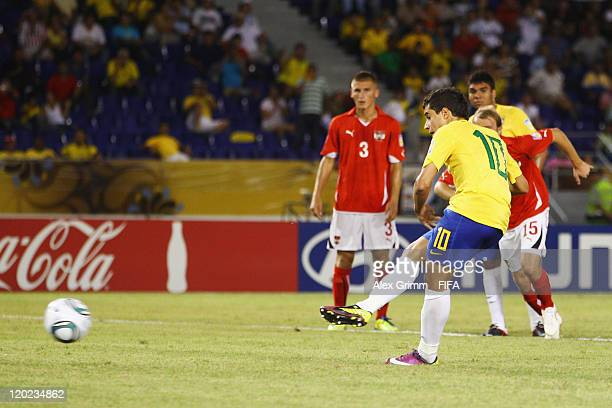 Philippe Coutinho of Brazil scores his team's second goal with a penalty during the FIFA U20 World Cup Group E match between Brazil and Austria at...