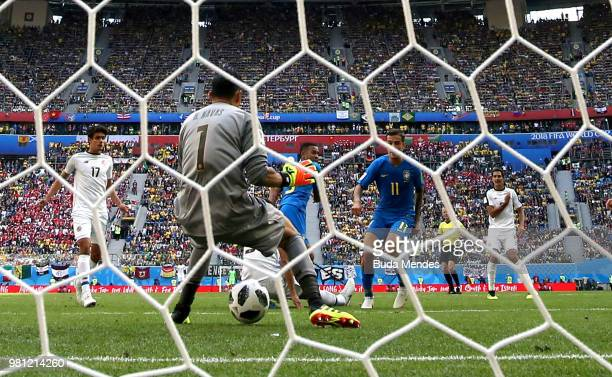 Philippe Coutinho of Brazil scores the opening goal past Keylor Navas of Costa Rica during the 2018 FIFA World Cup Russia group E match between...