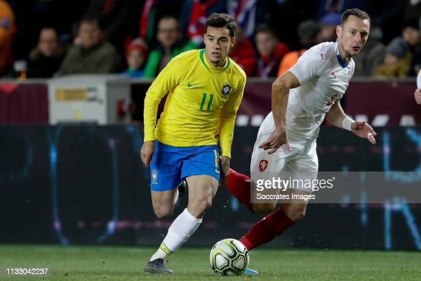 Philippe Coutinho of Brazil, Vladimir Coufal of Czech Republic during the International Friendly match between Czech Republic v Brazil at the Sinobo...