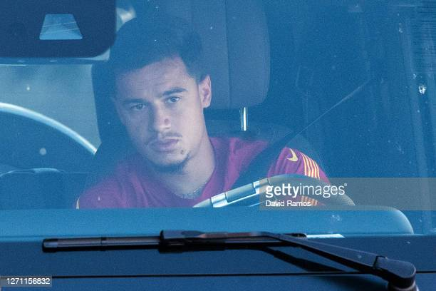 Philippe Coutinho of FC Barcelona arrives at Joan Gamper Ciutat Esportiva for a training session on September 07, 2020 in Sant Joan Despi, in...