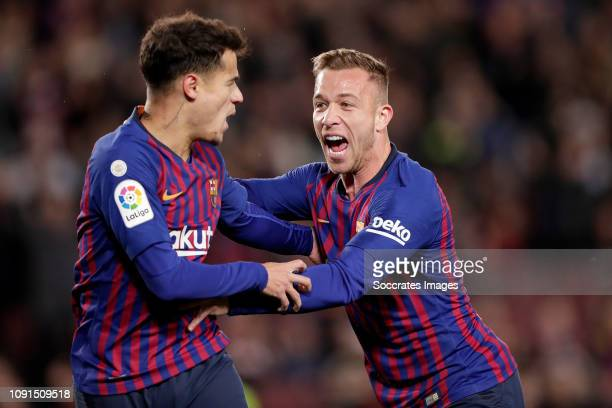 Philippe Coutinho of FC Barcelona Arthur Melo of FC Barcelona celebrate 10 during the Spanish Copa del Rey match between FC Barcelona v Sevilla at...