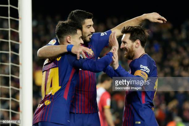 Philippe Coutinho of FC Barcelona celebrates 51 with Luis Suarez of FC Barcelona Lionel Messi of FC Barcelona during the La Liga Santander match...