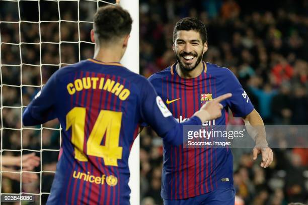 Philippe Coutinho of FC Barcelona celebrates 51 with Luis Suarez of FC Barcelona during the La Liga Santander match between FC Barcelona v Girona at...