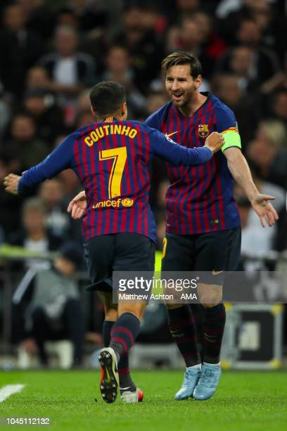 Philippe Coutinho of FC Barcelona celebrates after scoring a goal to make it 01 during the Group B match of the UEFA Champions League between...