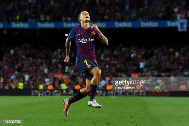 Philippe Coutinho of FC Barcelona celebrates after scoring his team's second goal during the La Liga match between FC Barcelona and Deportivo Alaves...