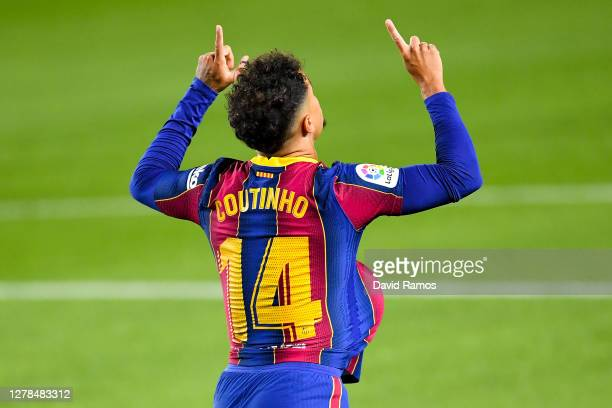 Philippe Coutinho of FC Barcelona celebrates after scoring his team's first goal during the La Liga Santander match between FC Barcelona and Sevilla...