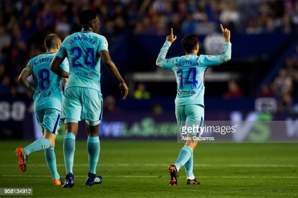Philippe Coutinho of FC Barcelona celebrates after scoring his team's first goal during the La Liga match between Levante UD and FC Barcelona at...
