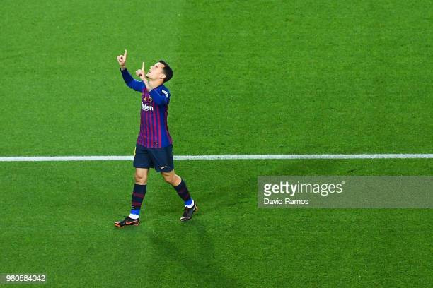 Philippe Coutinho of FC Barcelona celebrates after scoring his team's first goal during the La Liga match between Barcelona and Real Sociedad at Camp...