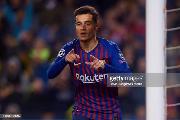 Philippe Coutinho of FC Barcelona celebrates his side's second goal during the UEFA Champions League Round of 16 Second Leg match between FC...
