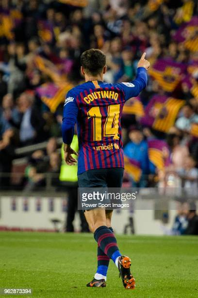 Philippe Coutinho of FC Barcelona celebrating his score during the La Liga match between Barcelona and Real Sociedad at Camp Nou on May 20 2018 in...