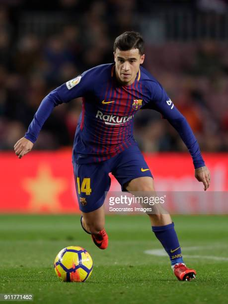 Philippe Coutinho of FC Barcelona during the La Liga Santander match between FC Barcelona v Deportivo Alaves at the Camp Nou on January 28 2018 in...