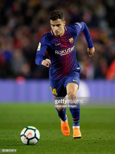 Philippe Coutinho of FC Barcelona during the La Liga Santander match between FC Barcelona v Girona at the Camp Nou on February 24 2018 in Barcelona...