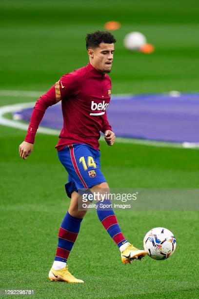 Philippe Coutinho of FC Barcelona during the prematch warm up prior to the La Liga Santander match between FC Barcelona and Valencia CF at Camp Nou...