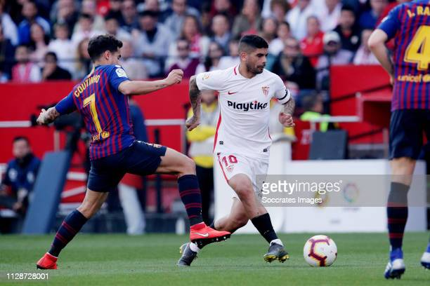 Philippe Coutinho of FC Barcelona Ever Banega of Sevilla FC during the La Liga Santander match between Sevilla v FC Barcelona at the Estadio Ramon...