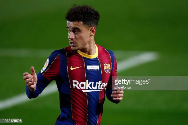 Philippe Coutinho of FC Barcelona gestures during the La Liga Santander match between FC Barcelona and Valencia CF at Camp Nou on December 19, 2020...