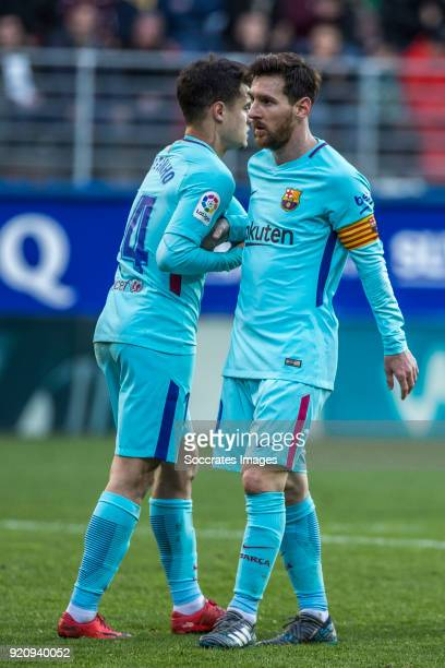 Philippe Coutinho of FC Barcelona Lionel Messi of FC Barcelona during the La Liga Santander match between Eibar v FC Barcelona at the Estadio...