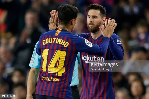 Philippe Coutinho of FC Barcelona Lionel Messi of FC Barcelona during the La Liga Santander match between FC Barcelona v Real Sociedad at the Camp...
