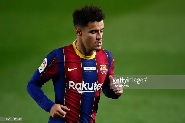 Philippe Coutinho of FC Barcelona looks down during the La Liga Santander match between FC Barcelona and Valencia CF at Camp Nou on December 19, 2020...