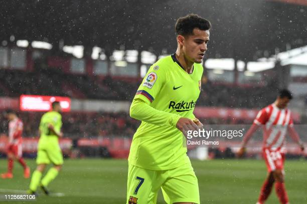 Philippe Coutinho of FC Barcelona looks on during the La Liga match between Girona FC and FC Barcelona at Montilivi Stadium on January 27 2019 in...