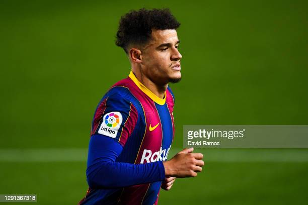 Philippe Coutinho of FC Barcelona looks on during the La Liga Santander match between FC Barcelona and Levante UD at Camp Nou on December 13, 2020 in...