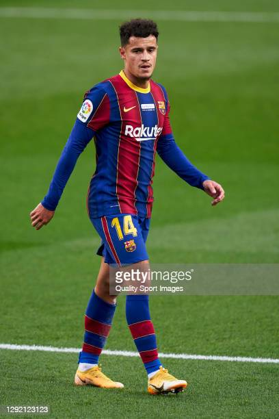 Philippe Coutinho of FC Barcelona looks on during the La Liga Santander match between FC Barcelona and Valencia CF at Camp Nou on December 19, 2020...