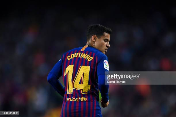 Philippe Coutinho of FC Barcelona looks on during the La Liga match between Barcelona and Real Sociedad at Camp Nou on May 20 2018 in Barcelona Spain