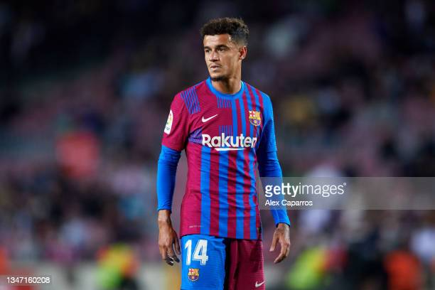 Philippe Coutinho of FC Barcelona looks on during the LaLiga Santander match between FC Barcelona and Valencia CF at Camp Nou on October 17, 2021 in...