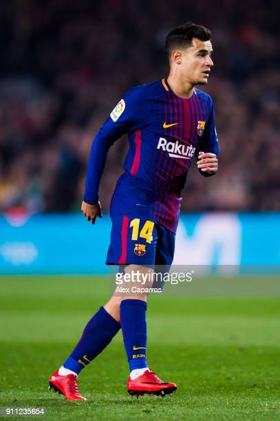 Philippe Coutinho of FC Barcelona looks on during the Spanish Copa del Rey Quarter Final Second Leg match between FC Barcelona and RCD Espanyol at...