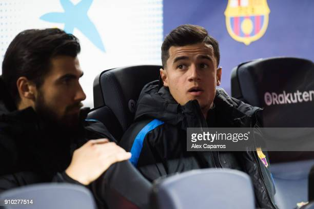 Philippe Coutinho of FC Barcelona looks on from the bench before the Spanish Copa del Rey Quarter Final Second Leg match between FC Barcelona and RCD...