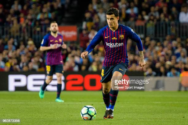 Philippe Coutinho of FC Barcelona looks to bring the ball down during the La Liga match between Barcelona and Real Sociedad at Camp Nou on May 20...