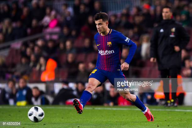 Philippe Coutinho of FC Barcelona plays the ball during the Copa del Rey semifinal first leg match between FC Barcelona and Valencia CF at Camp Nou...