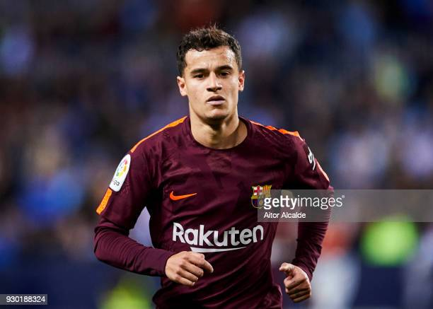 Philippe Coutinho of FC Barcelona reacts during the La Liga match between Malaga and Barcelona at Estadio La Rosaleda on March 10 2018 in Malaga Spain