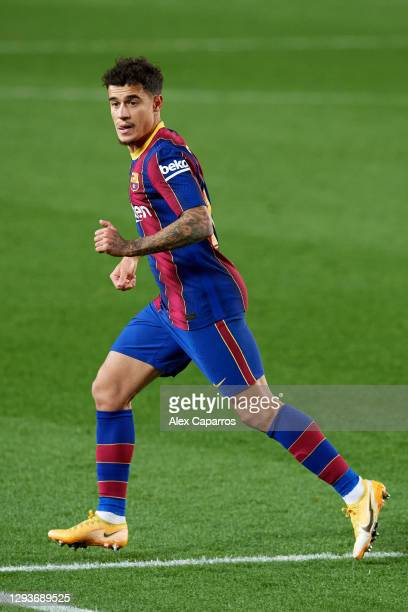 Philippe Coutinho of FC Barcelona runs during the La Liga Santander match between FC Barcelona and SD Eibar at Camp Nou on December 29, 2020 in...