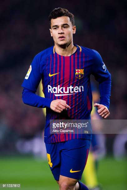 Philippe Coutinho of FC Barcelona runs during the Spanish Copa del Rey Quarter Final Second Leg match between FC Barcelona and RCD Espanyol at Camp...