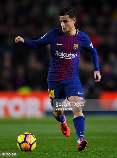 Philippe Coutinho of FC Barcelona runs with the ball during the La Liga match between Barcelona and Deportivo Alaves at Camp Nou on January 28 2018...