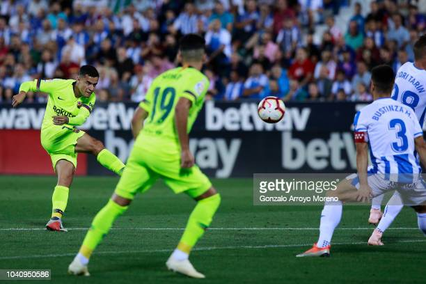 Philippe Coutinho of FC Barcelona scores their opening goal during the La Liga match between CD Leganes and FC Barcelona at Estadio Municipal de...