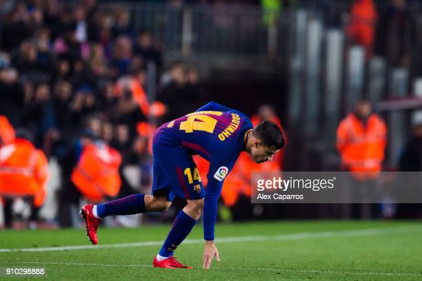 Philippe Coutinho of FC Barcelona substitutes his teammate Andres Iniesta and makes his debut with FC Barcelona during the Spanish Copa del Rey...