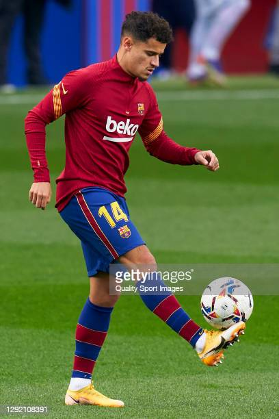 Philippe Coutinho of FC Barcelona warms up prior to the La Liga Santander match between FC Barcelona and Valencia CF at Camp Nou on December 19, 2020...