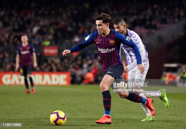 Philippe Coutinho of FC Barcelona with the ball during the La Liga match between FC Barcelona and Real Valladolid CF at Camp Nou on February 16 2019...