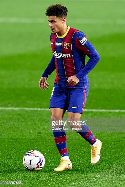 Philippe Coutinho of FC Barcelona with the ball during the La Liga Santander match between FC Barcelona and Valencia CF at Camp Nou on December 19,...