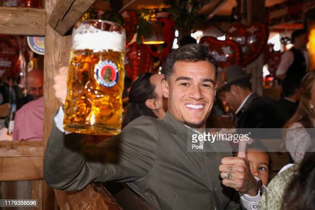 Philippe Coutinho of FC Bayern Muenchen attends the Oktoberfest at Kaefer Wiesenschaenke tent at Theresienwiese on October 06, 2019 in Munich,...