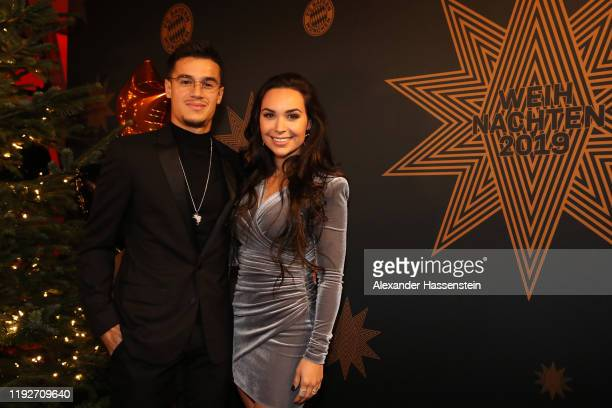 Philippe Coutinho of FC Bayern Muenchen attends with his wife Aine Coutinho the clubs Christmas party at Allianz Arena on December 08, 2019 in...